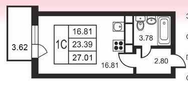 Планировка Студия площадью 27.01 кв.м в ЖК «Дудергофская линия 3»
