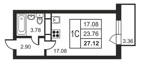 Планировка Студия площадью 27.12 кв.м в ЖК «Дудергофская линия 3»