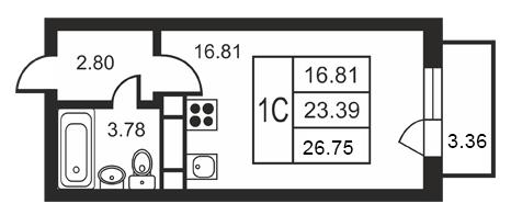 Планировка Студия площадью 26.75 кв.м в ЖК «Дудергофская линия 3»