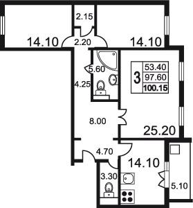 Планировка Трёхкомнатная квартира площадью 104.9 кв.м в ЖК «Дудергофская линия 3»